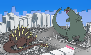 Godzilla vs Anguirus by Soap9000