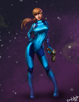Samus Aran pin up by Evulchibi