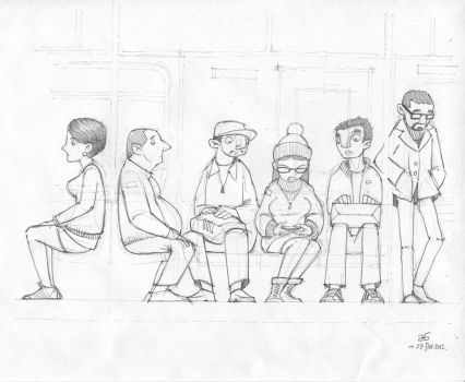 Curious Commute - Pencil by AGartworks
