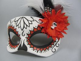 Day of the Dead Orange Lotus Flower Mask by maskedzone