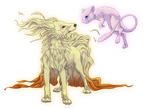 Ninetails and Mew by QueenAphie