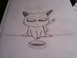 Bowl is empty, snowbell angry by hikariix3