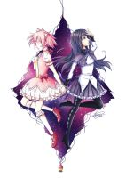 Madoka and Homura by crimson-firelight