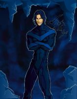Nightwing in the Batcave by Calipeias