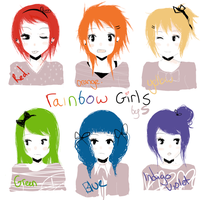 Rainbow girls by Kyuuchii