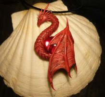 Crimson Guardian - handsculpted Dragon Pendant by Ganjamira
