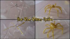 Halloween Hot Glue Glitter Spider - Step by step by MissDwidwi