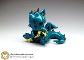 Blue Dragon with Gold Key by whitemilkcarton