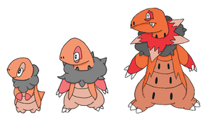 Fakemon- Fire Starter Line by Casey333