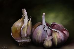 Garlics (iPhone painting) by nuevemonos