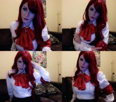 Mitsuru: P3. Costume throw together + Makeup test! by MoonFoxUltima