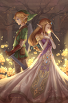 Link and Zelda by Kyuriin