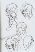 Knuckles the Echidna sketches by ThePandamis