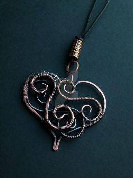 Heart pendant with wires spirals and swirls by SilverDeFactory
