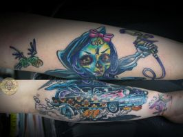 Zombie girl hot rod tat by 2Face-Tattoo