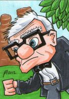Pixar's Up Carl Sketch Card by johnnyism