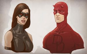 Daredevil and X23 doodle by digitalinkrod