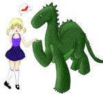 Girl and Dinosaur by cathartic-dream