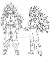 Goku and Vegeta SSJ3 by Gothax