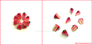 strawberry and cherry cakes by TokiCrafts