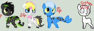 Pony adopts (Customs open) by NiightmareAdoptable
