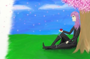 Marluxia with cherry tree by Elizabeth1315