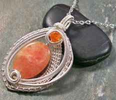 Woven Oval Orange Calcite and Silver Pendant by HeatherJordanJewelry