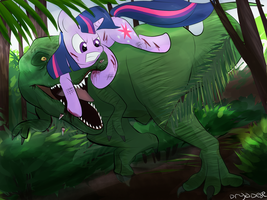 Twilight Sparkle vs. T-Rex (Request) by dryadese