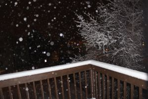 Snowy Night with Tree and Deck background Stock by BeccaB323