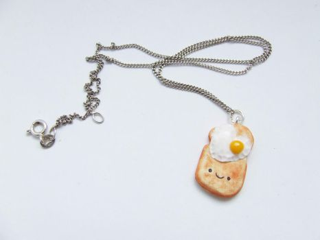 Toast and Eggs Kawaii Necklace by Hama-Girl