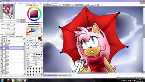 Amy~Rain in the city .:PROCESS:. by Klaudy-na