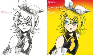 Kagamine Rin Colored Sketch by Me by Rody2