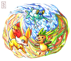 Pokemon X and Y Starters by cerasly
