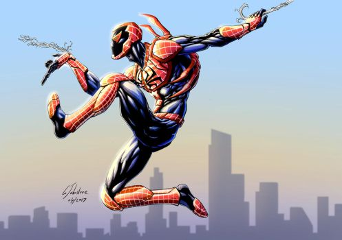 The Red Spider - Spider-man and Bluebeetle mashup by JustGeoffsArt