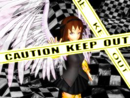 Caution Tape Angel: Title page by SilverStarlite
