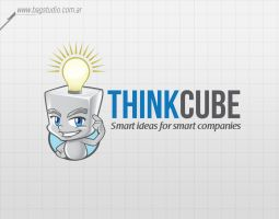 Think cube mascot vector logo by MrGabey