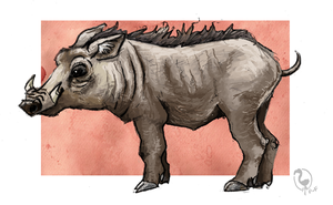 Common Warthog by painted-flamingo