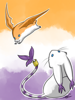 Patamon and Gatomon by Pidoodle