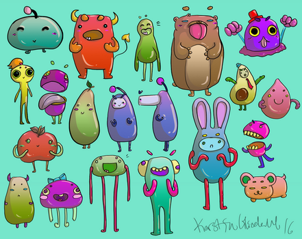Cute Monsters - Concepts for lowpoly 3D by Kezo89
