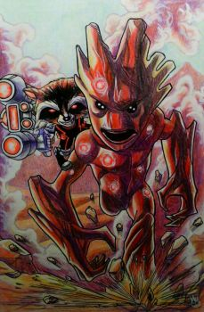 Mini Marvels: Rocket and his Groot by BluBoiArt