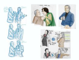 Loki and Dr. Selvig- Doodles by VanHinck