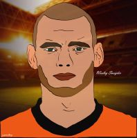 Wesley Sneijder Cartoon by bluezest1997