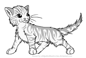 Longhaired Tabby M Lineart by WildpathOfShadowClan
