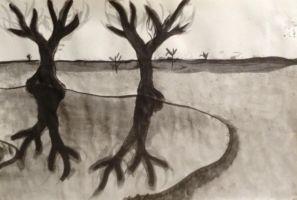 Drawing: Landscape with Reflective Trees by sarahsmiles916