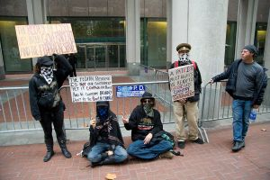 Wall St Occupiers in Front of Fed Reserve SF by William1942