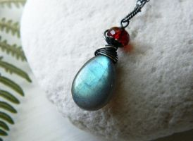 Light Blue-Green Labradorite with Garnet Pendant by QuintessentialArts