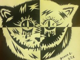 Black n White Cheshire Cat by D-GreenVirus