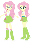 Human Fluttershy and Pony Fluttershy by BerryPunchrules