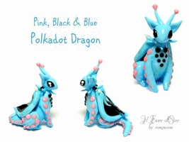 Pink, black and blue Polkadot dragon 2 by rosepeonie