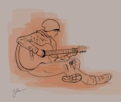 Sitting with Guitar by YairMor
